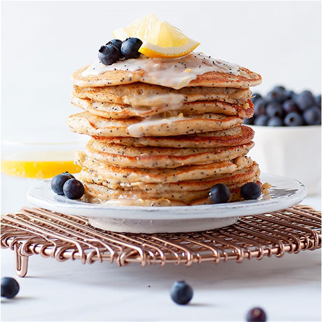Gluten Free Lemon Poppy Seed Ricotta Pancakes
