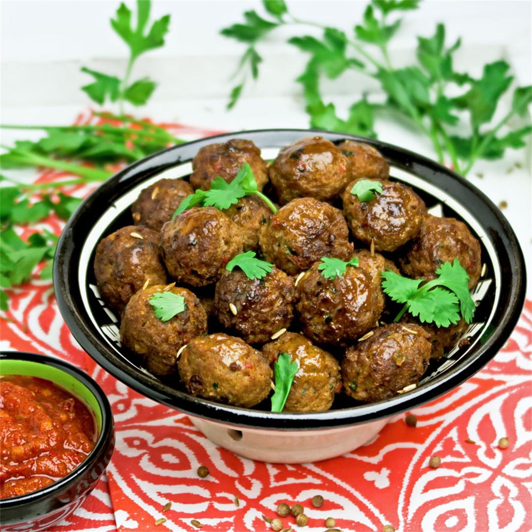 Moroccan lamb meatballs flavored with exotic spices and harissa