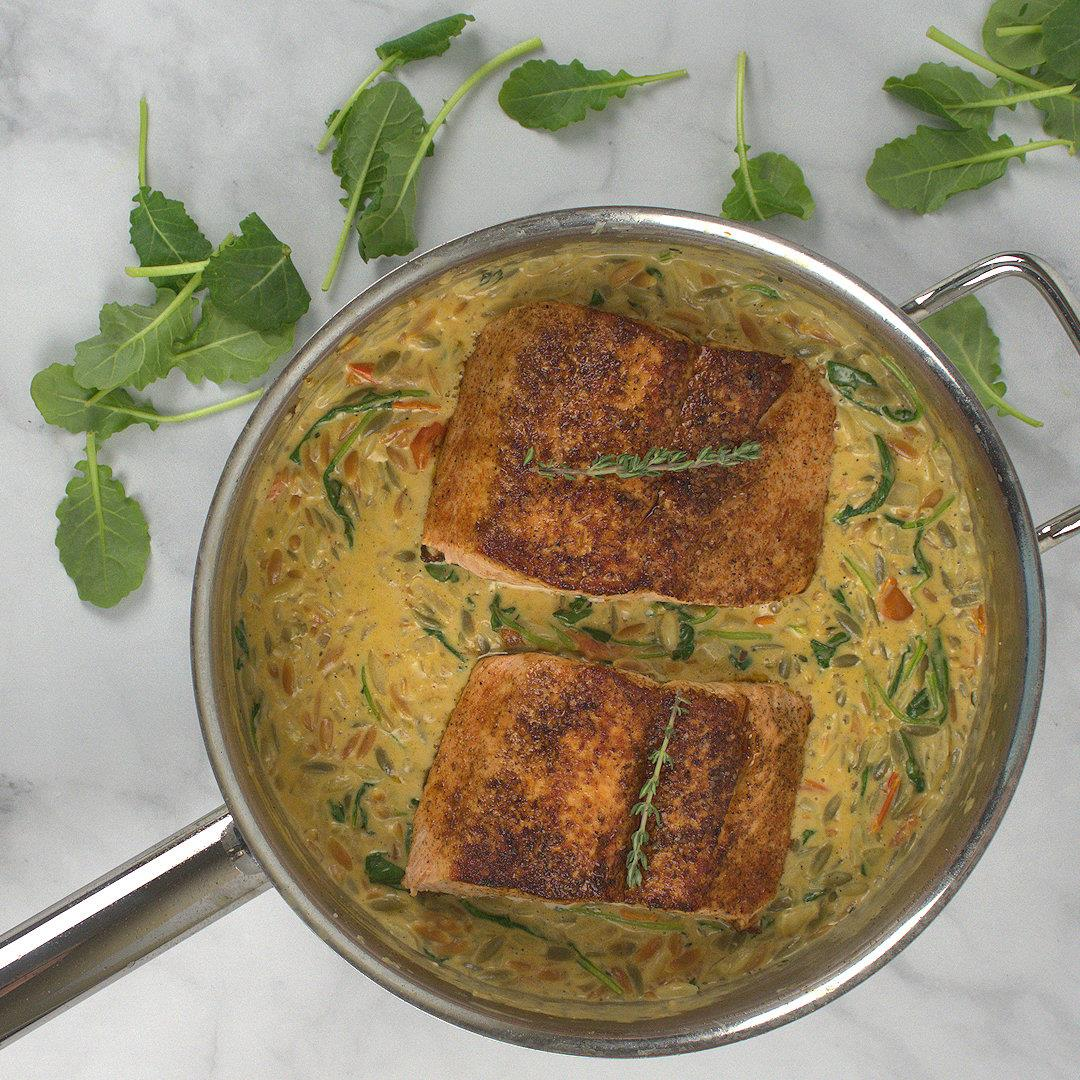 Creamy Kale and Salmon in Orzo – A Gourmet Food Blog