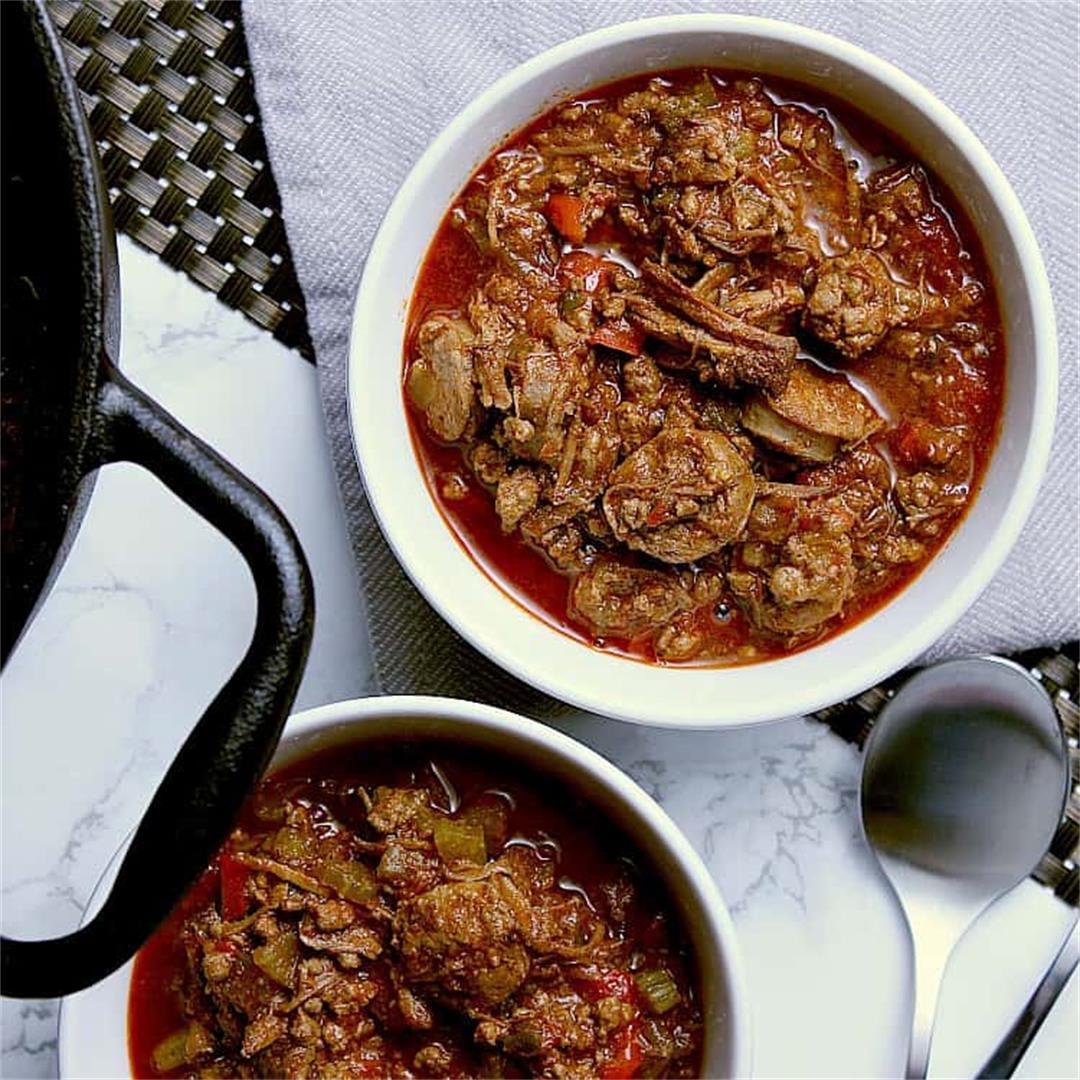 Three Meat Keto Chili