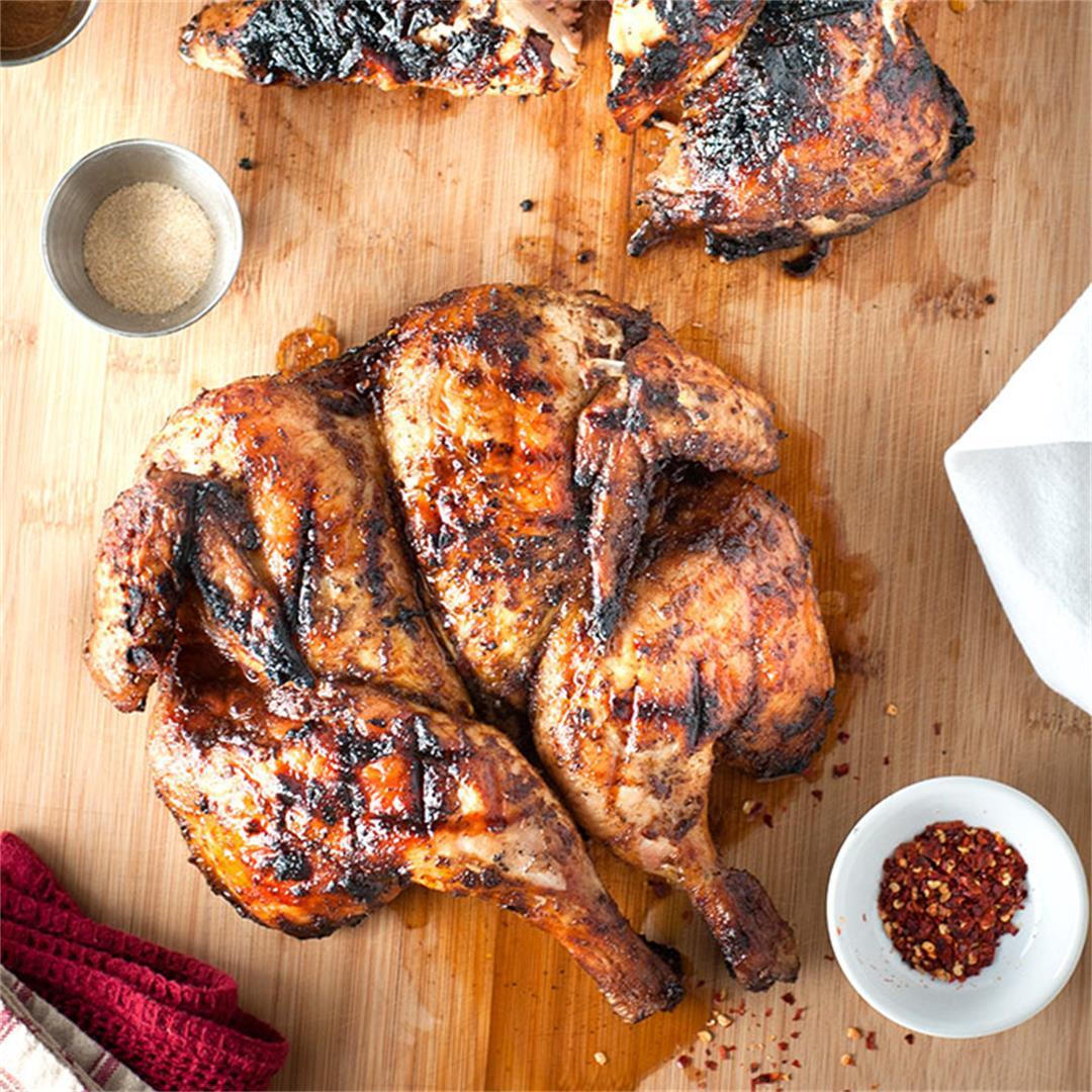 Grilled spatchcock jerk chicken