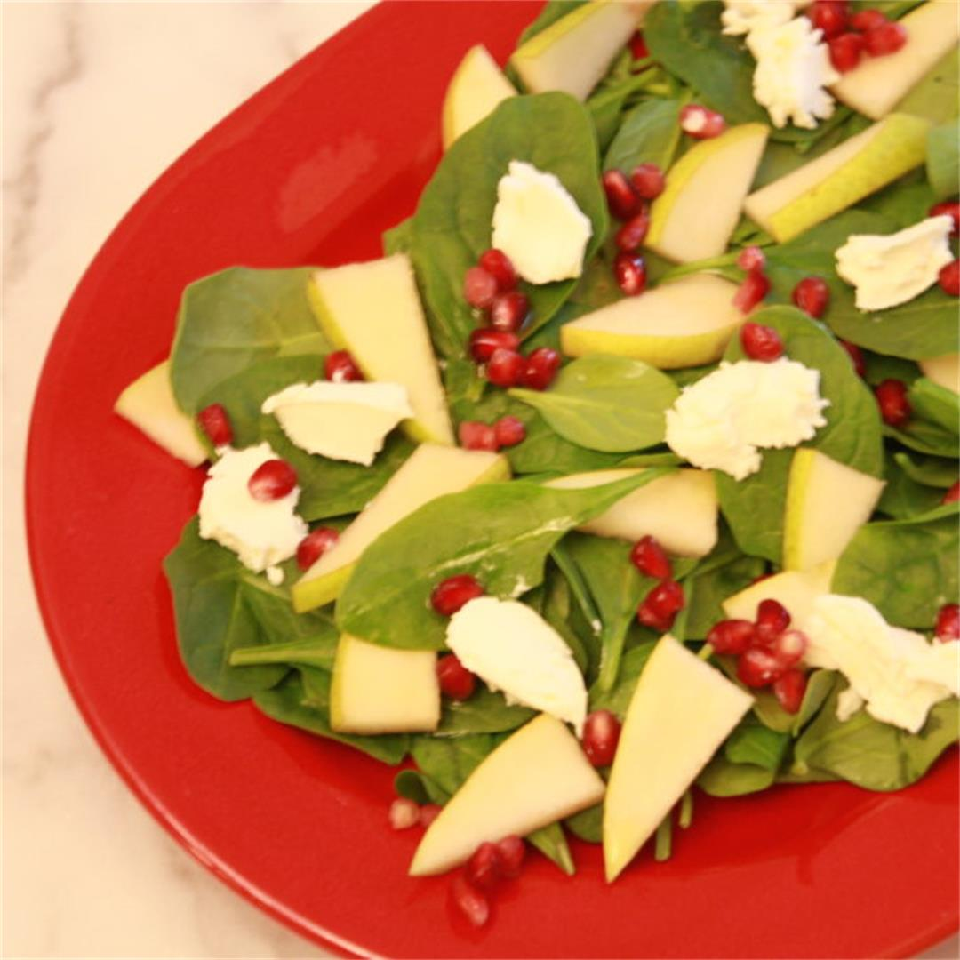 Pomegranate Spinach Salad with Pears and Goat Cheese