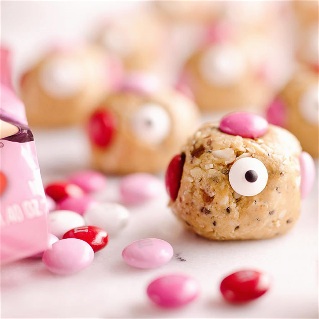 Valentine Love Monster No Bake Energy Bites