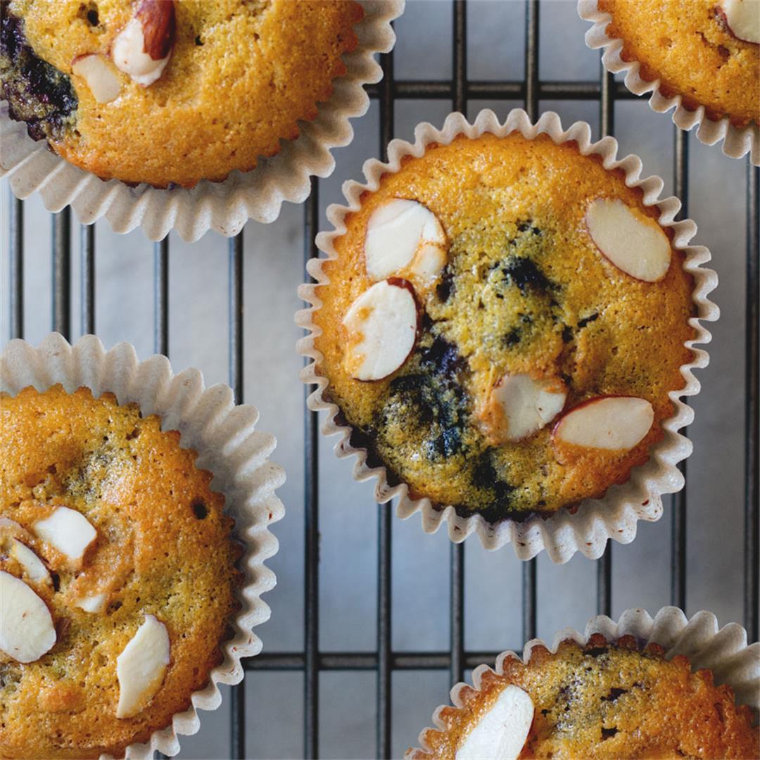 Healthy Almond Blueberry Muffins (gluten free, paleo)