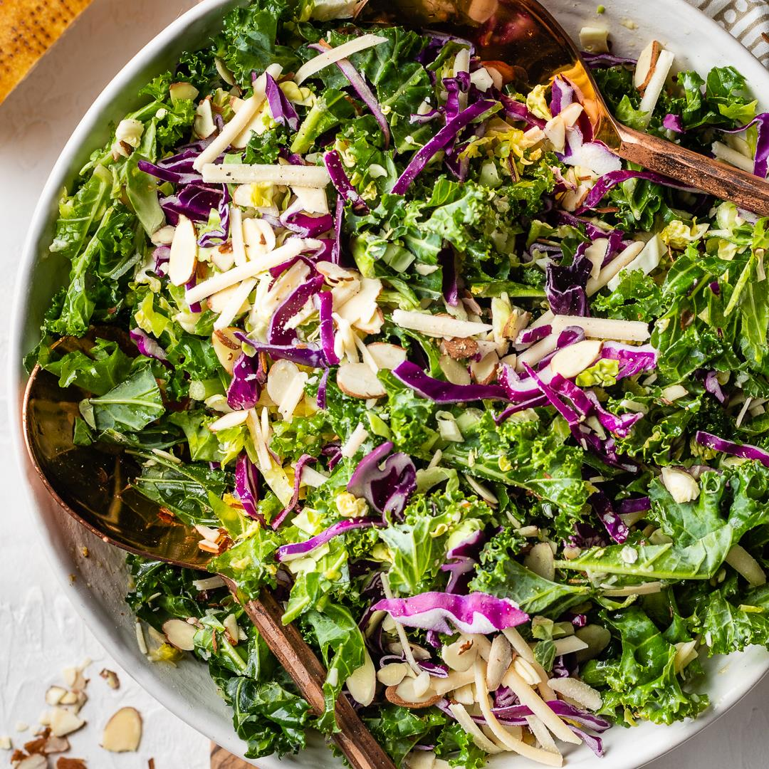 Kale Brussels Sprouts Salad with Creamy Lemon Parmesan Dressing