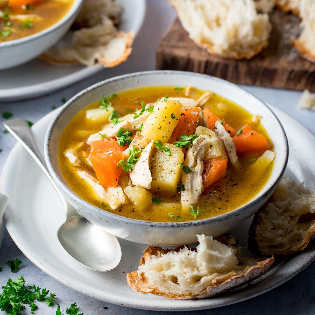 Piled High Chicken and Vegetable Soup