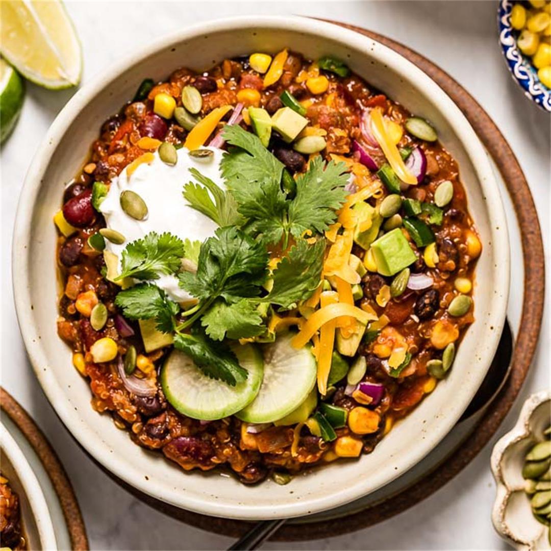 The Best Ever Quinoa Chili Recipe (Vegetarian & GF)