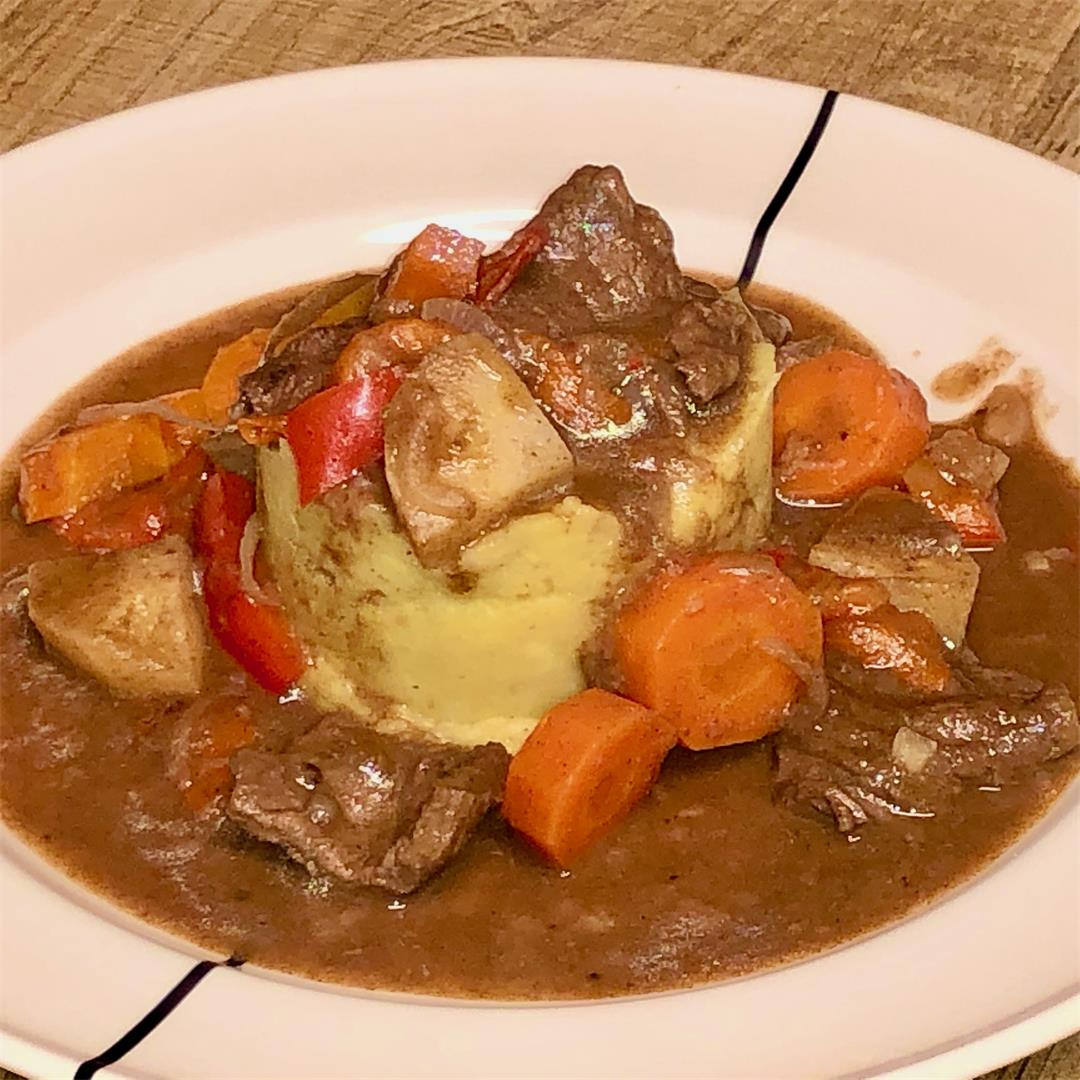 Beef roulade stew with winter vegetables and port