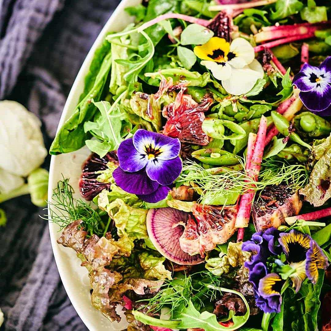 Spring Herb Salad with Pomegranate Miso Dressing