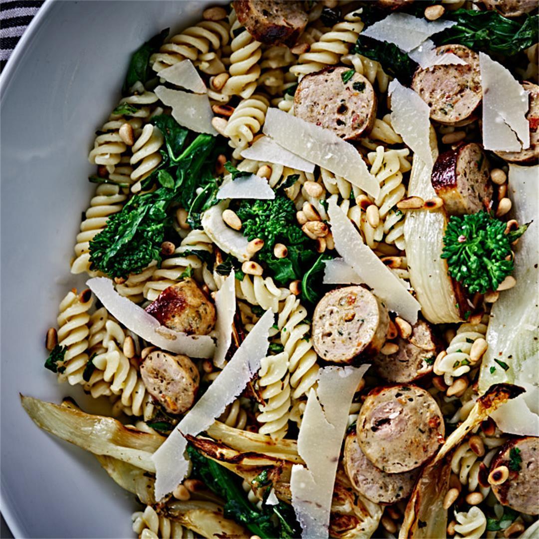 Lemon & Herb Fusilli with Broccoli Rabe, Fennel, & Sausage