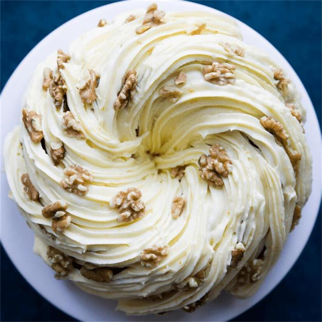 The Most Amazing Carrot Cake Bundt with Orange Cream Cheese Fro