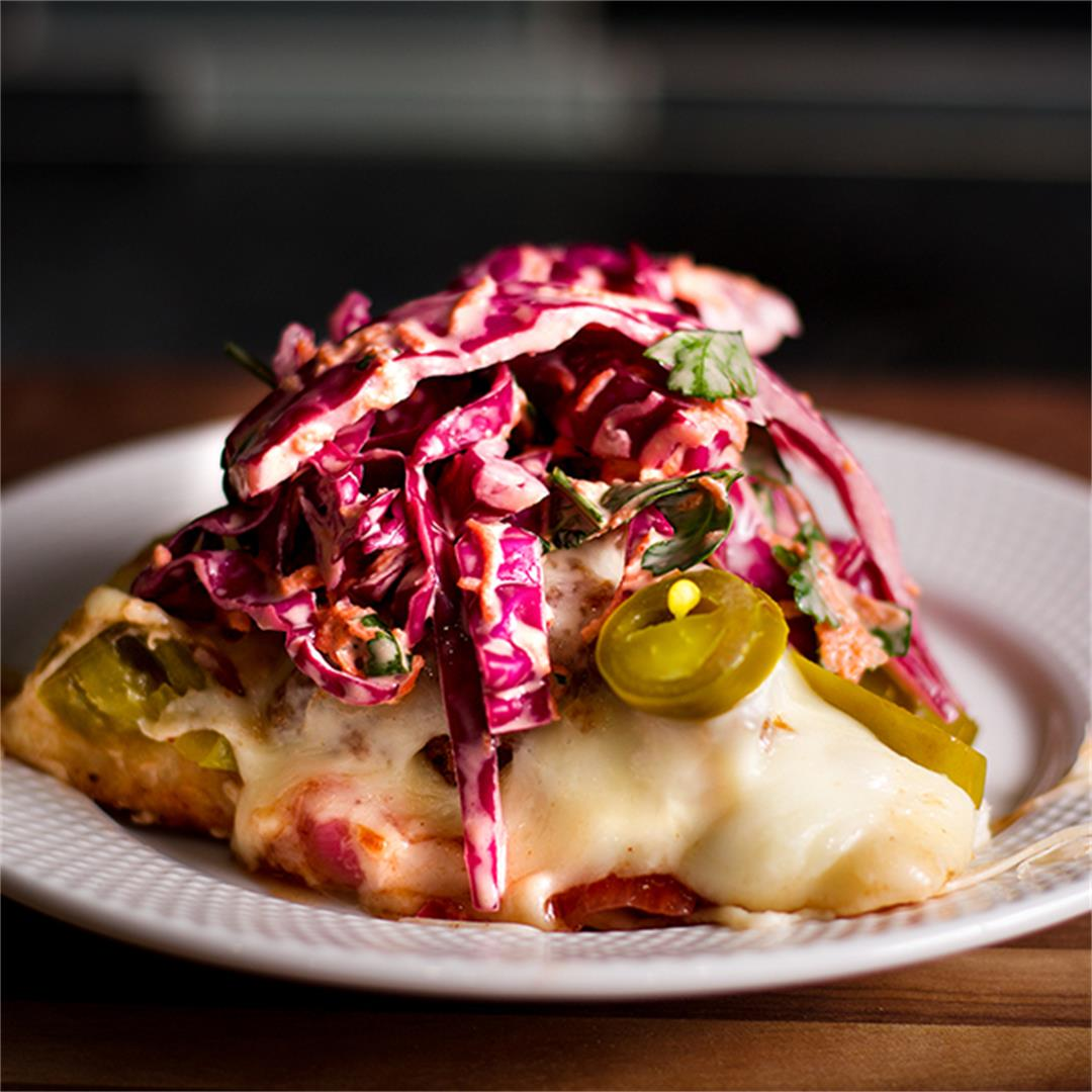 BBQ Fried Chicken Pizza {with White Cheddar and Cabbage Slaw}