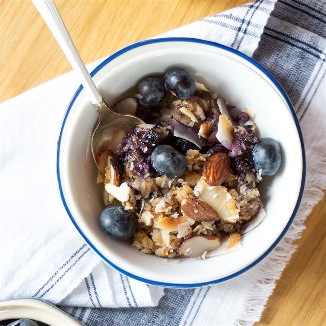 Blueberry Baked Oatmeal with Coconut + Almonds