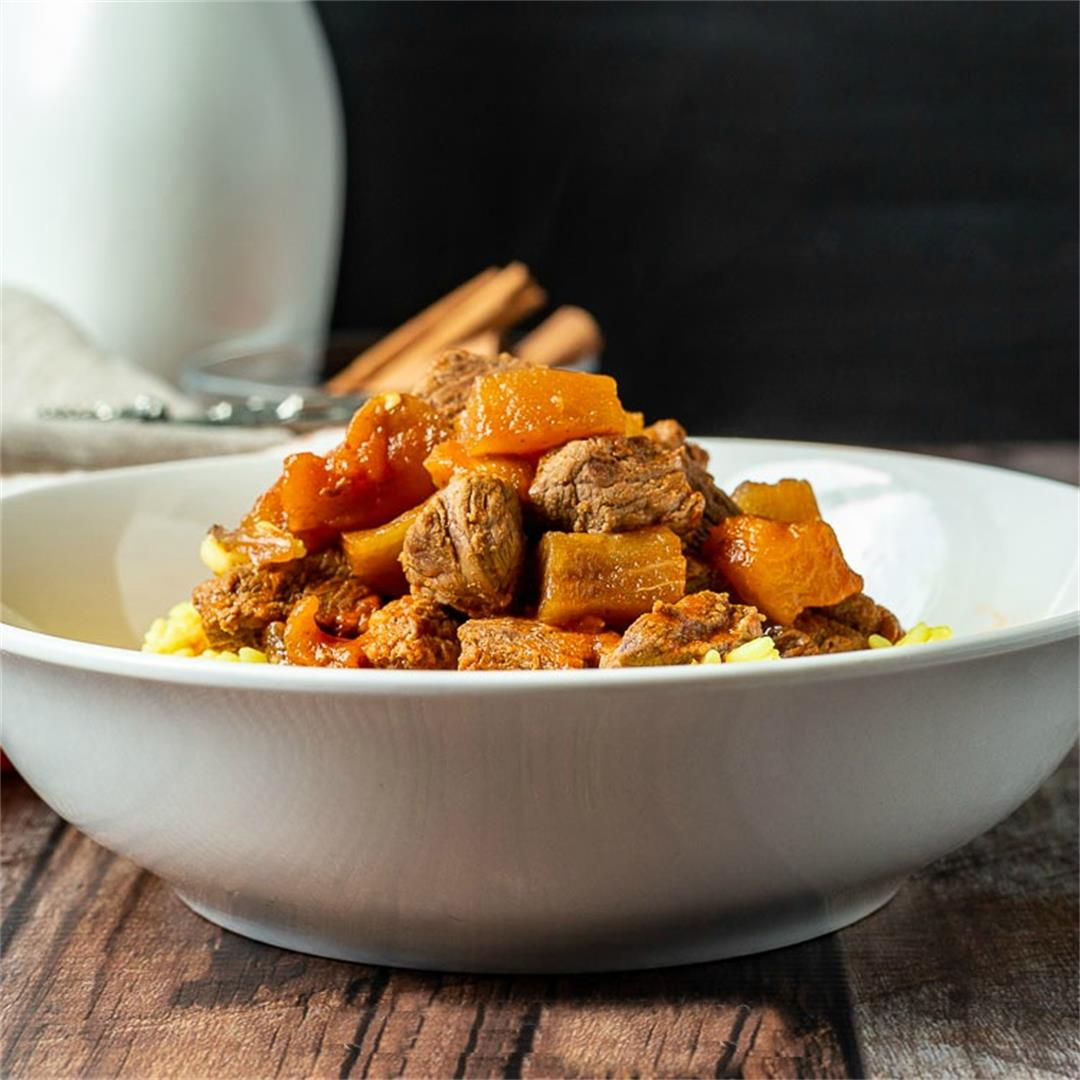 Eggplant and Beef Stew with Turmeric Rice