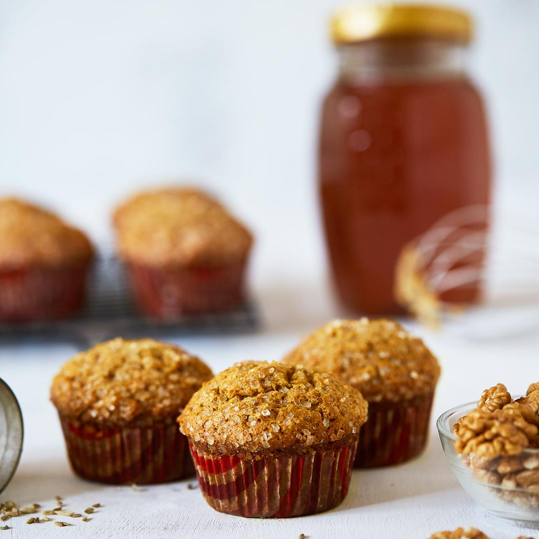 Honey Cornbread Muffins with Fennel Seeds and Walnuts
