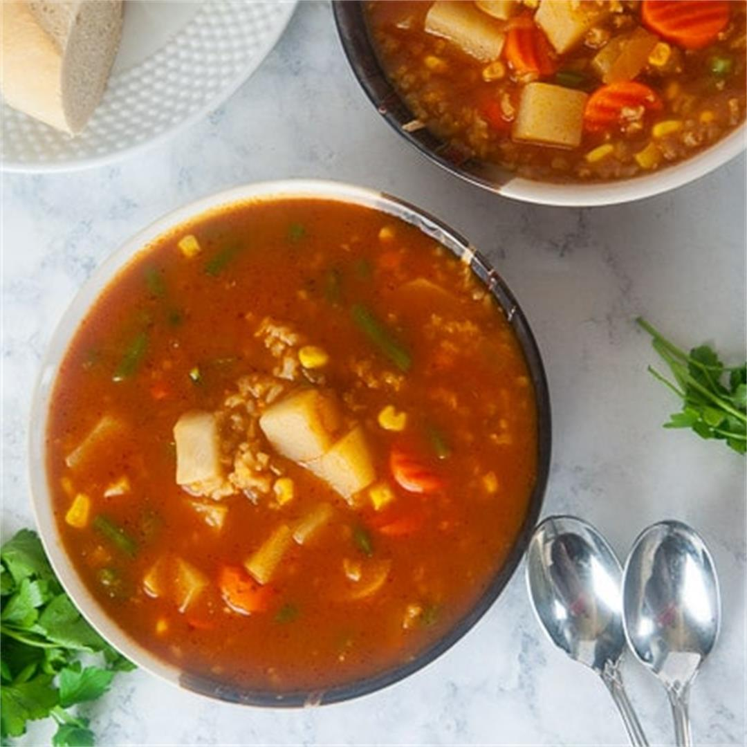 Instant Pot Vegetable Soup with Rice