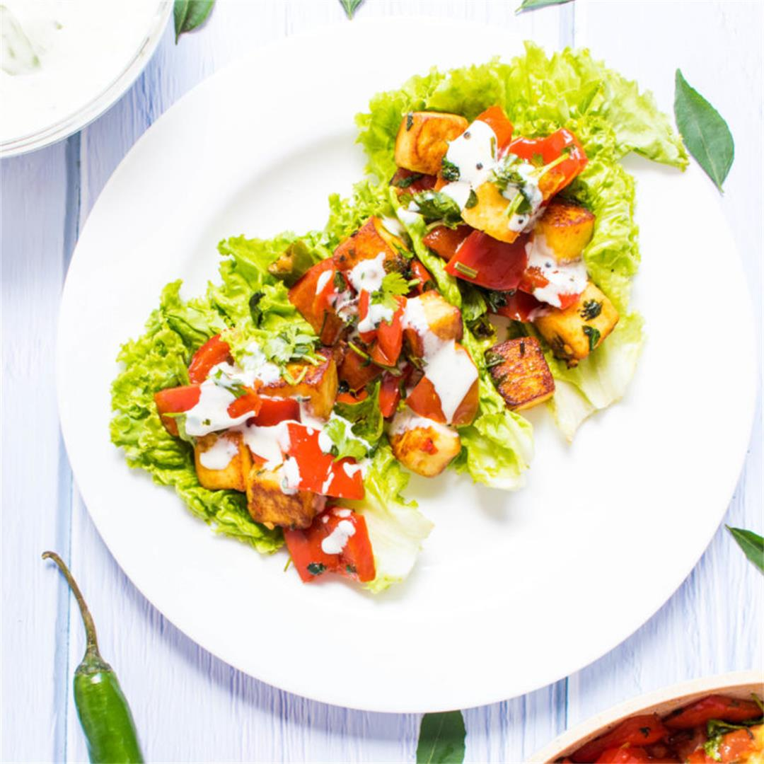 Amazing healthy lettuce wraps with paneer