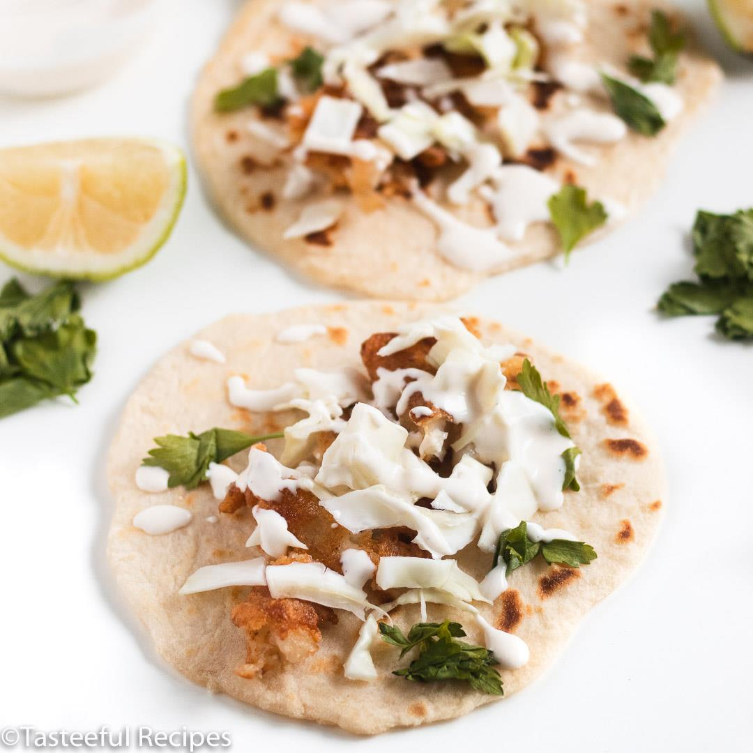 Crispy Coconut Fish Tacos with Lime Mayo