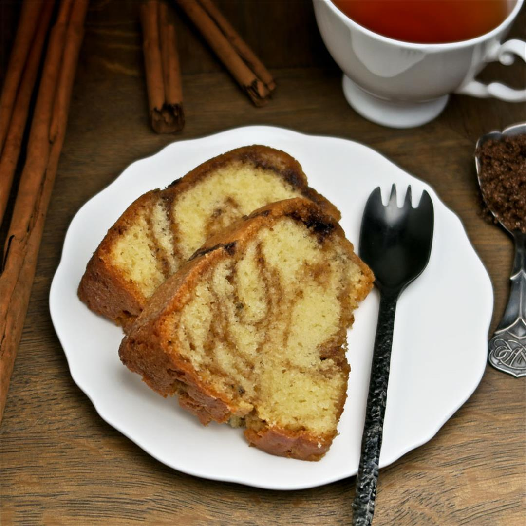 Moist and light Bundt cake with a swirl of cinnamon sugar!