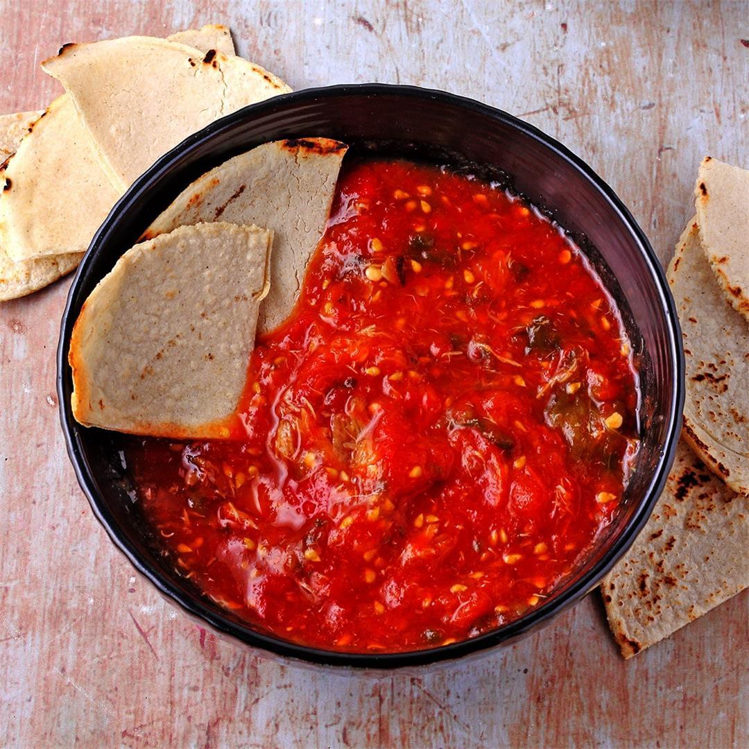 Fresh salsa molcajete