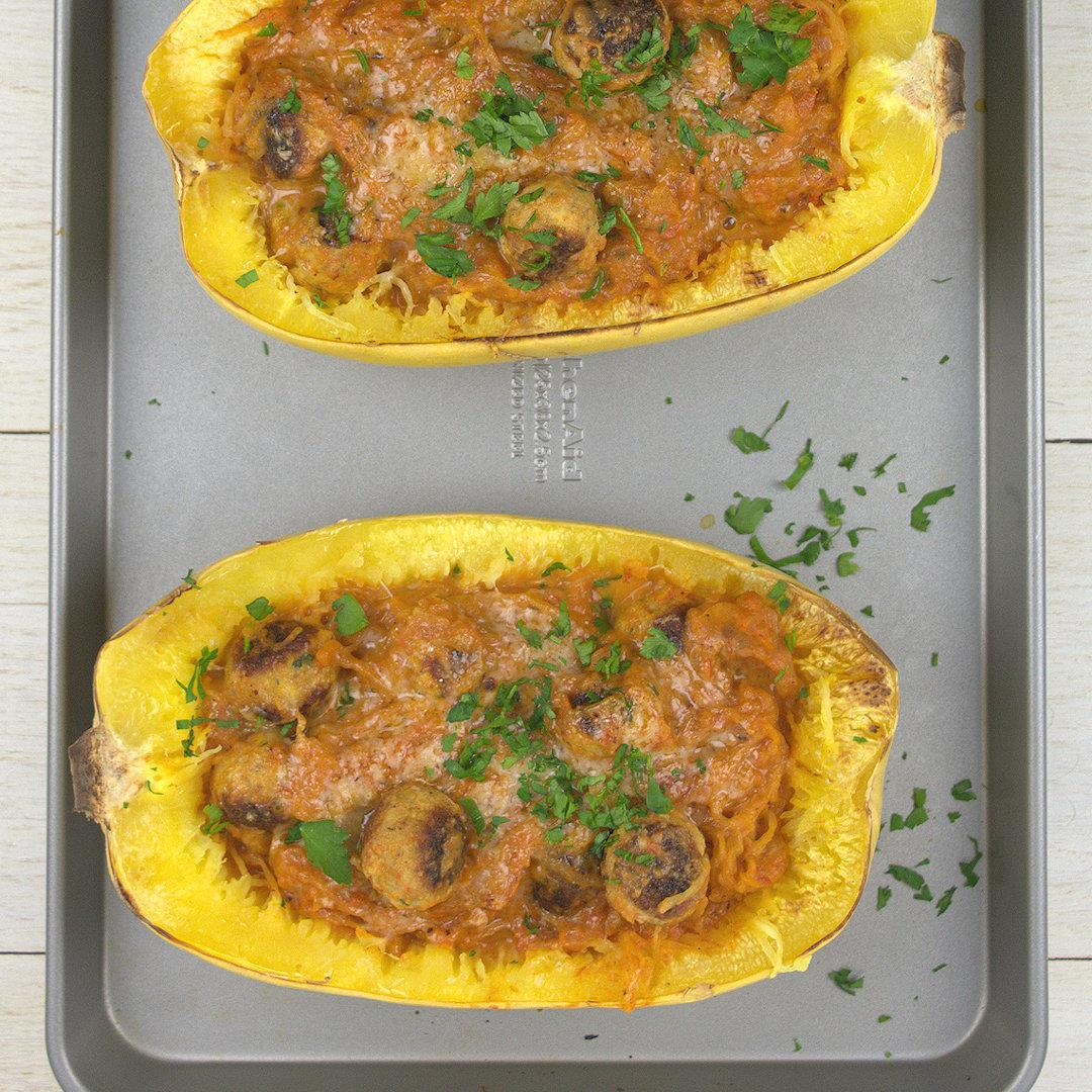 Spaghetti Squash with Mini Turkey Meatballs – A Gourmet Food Bl