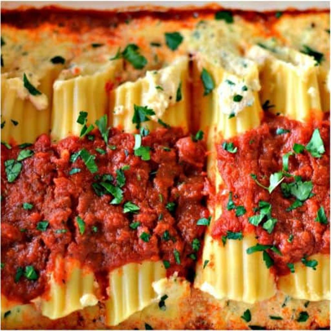 Roasted Garlic Three Cheese Manicotti