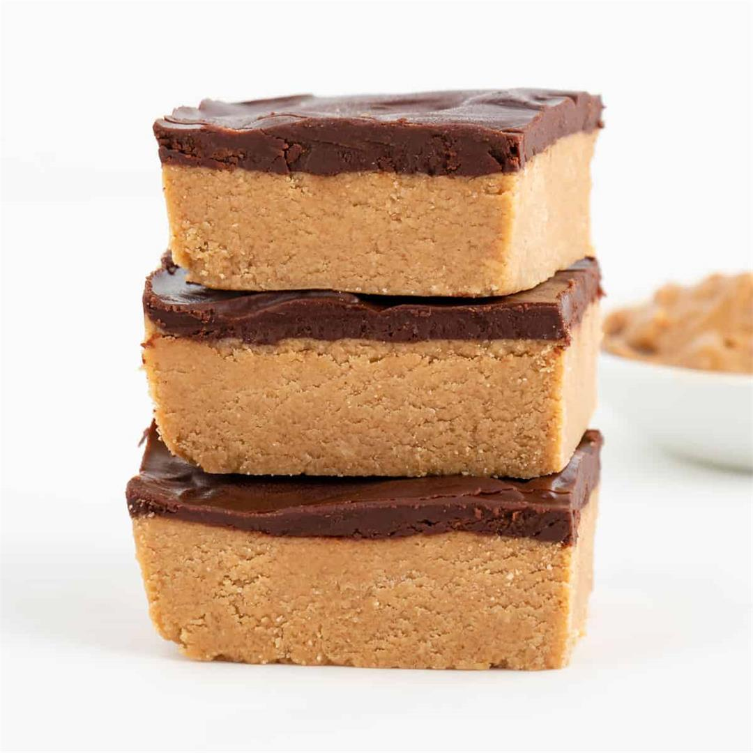 No Bake Chocolate Peanut Butter Bars (Vegan, Gluten-Free, Healt