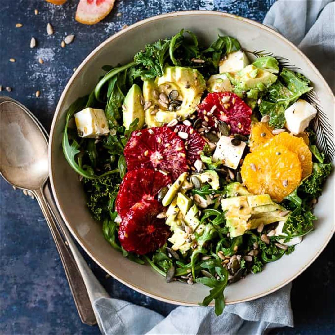 Easy Kale Salad w/ Avocado & Citrus Dressing