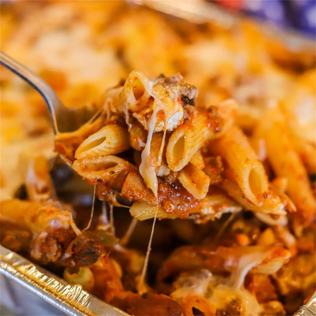 Baked Penne Pasta with Meat Sauce