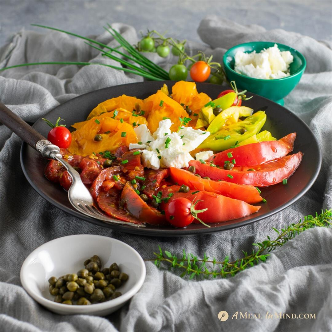 Heirloom Tomato Salad with Capers and Feta