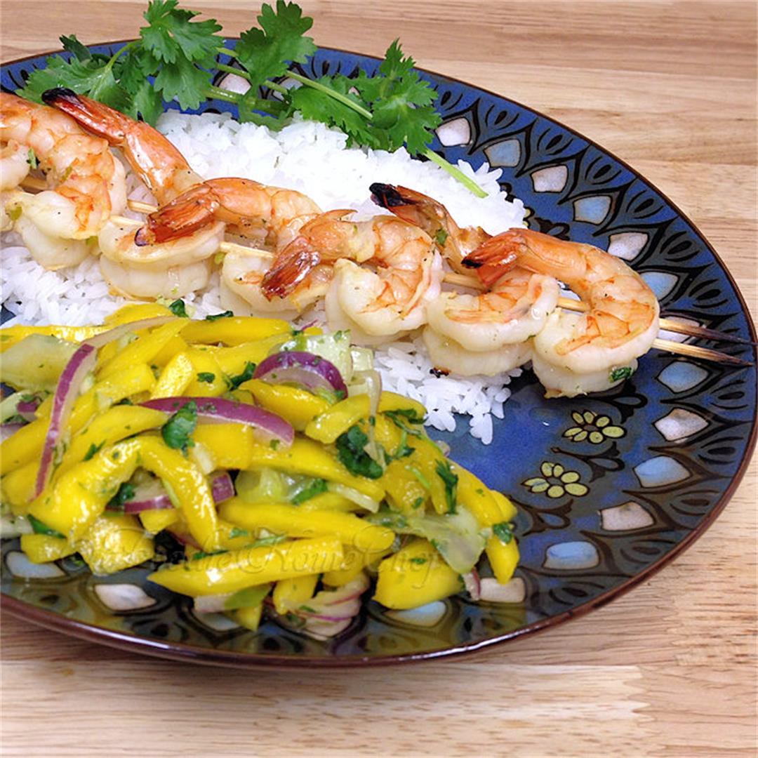 Spicy Shrimp Skewers with Refreshing Mango Salsa Salad