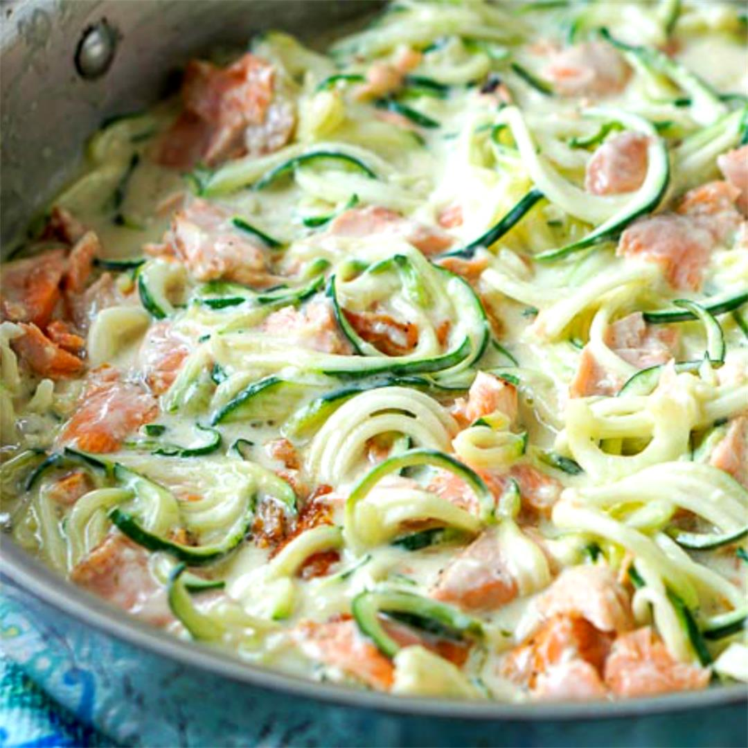 Keto Salmon Alfredo Recipe with Zucchini Noodles in 20 minutes!