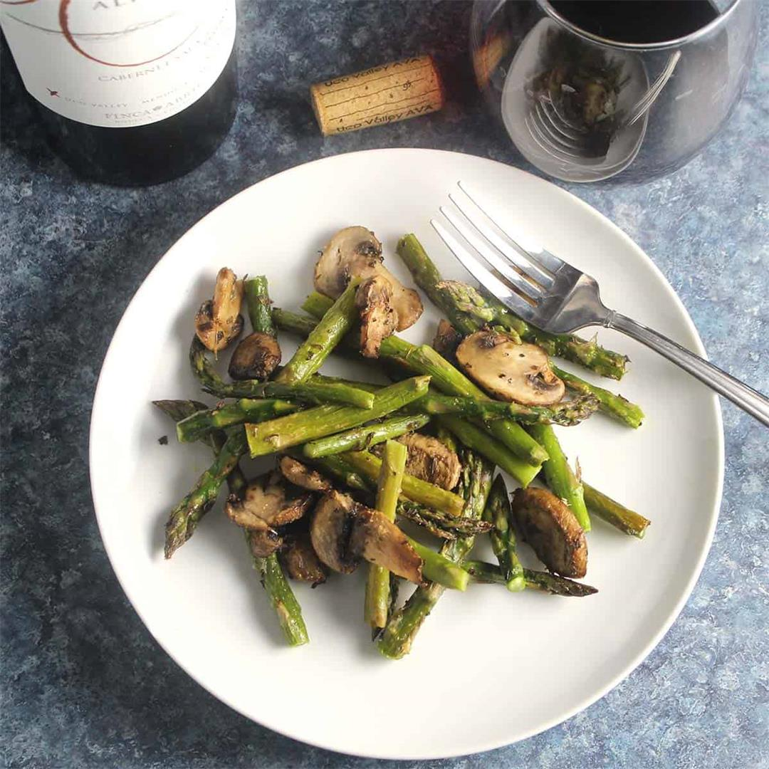 Roasted Asparagus and Mushrooms Paired with Red Wine
