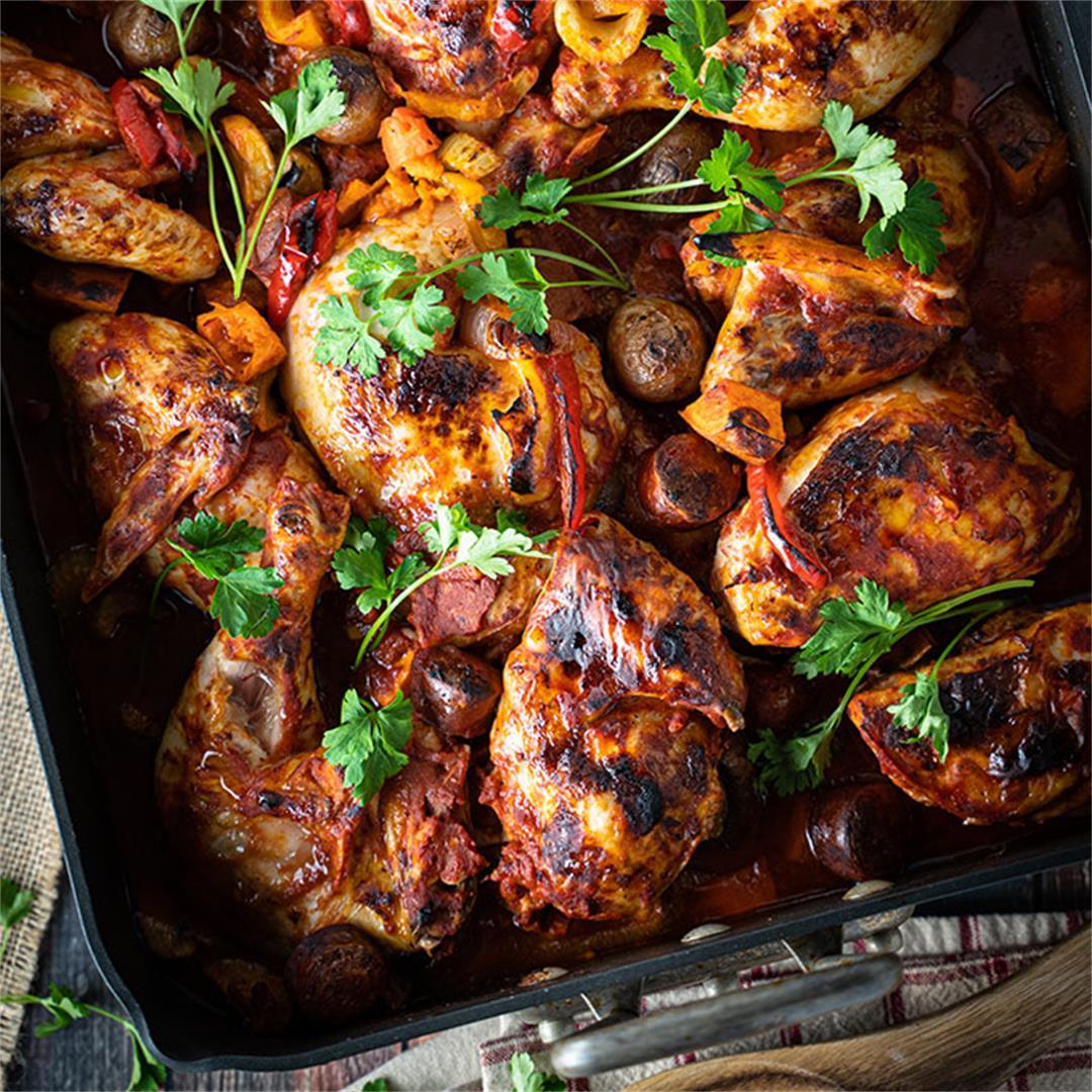 Marinated roast chicken and chorizo on vegetables