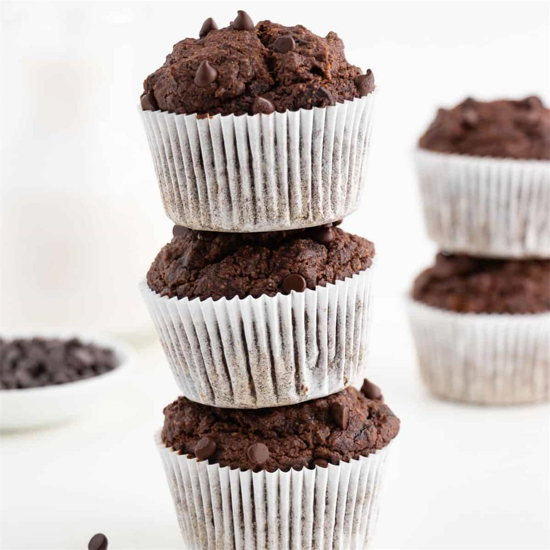 Double Chocolate Banana Muffins (Vegan & Gluten-Free)
