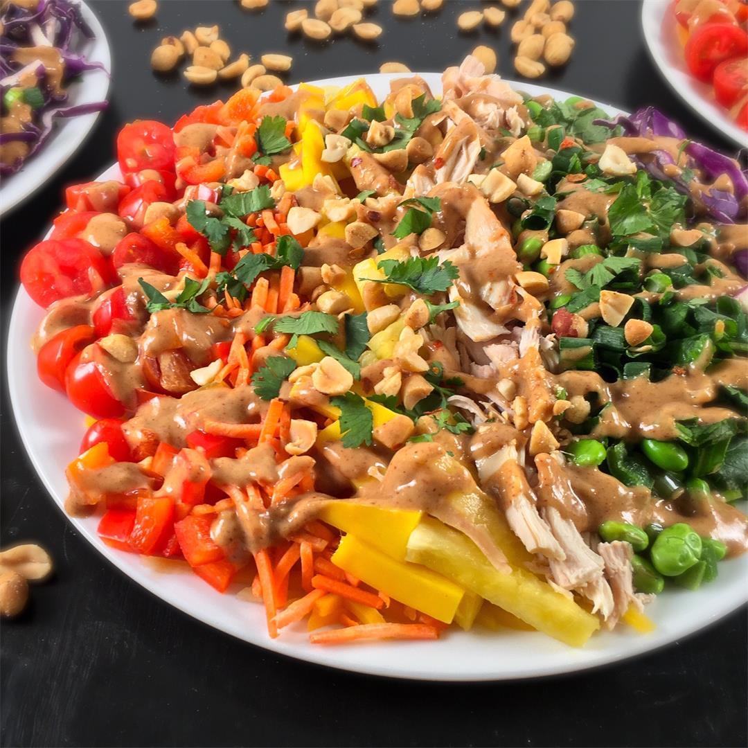 Rainbow Veggies Salad with Georgia Peanut Sauce