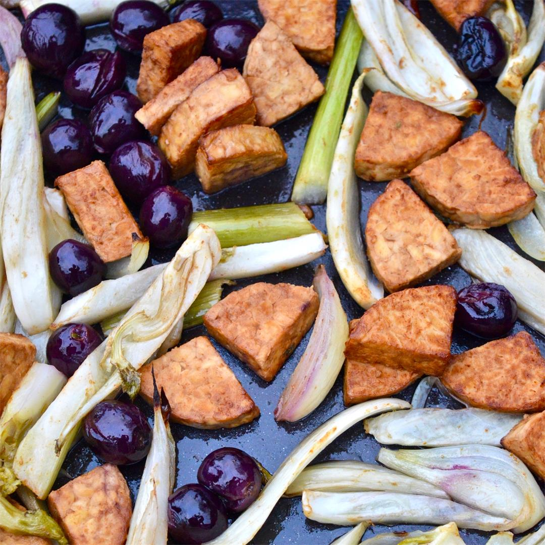 Marinated Tempeh with Roasted Grapes and Fennel