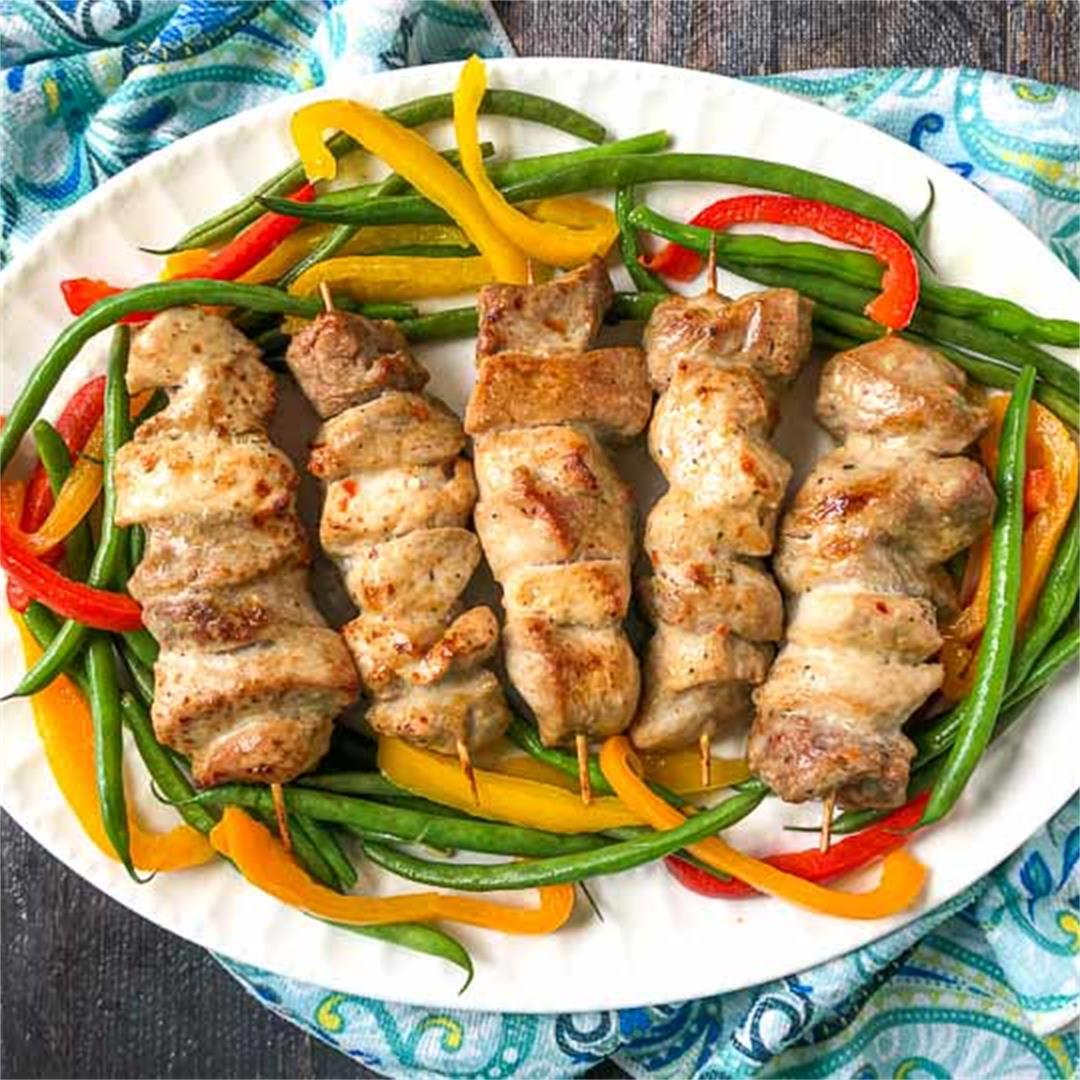 Easy Low Carb Pork Kebabs in the Air Fryer using 3 Ingredients