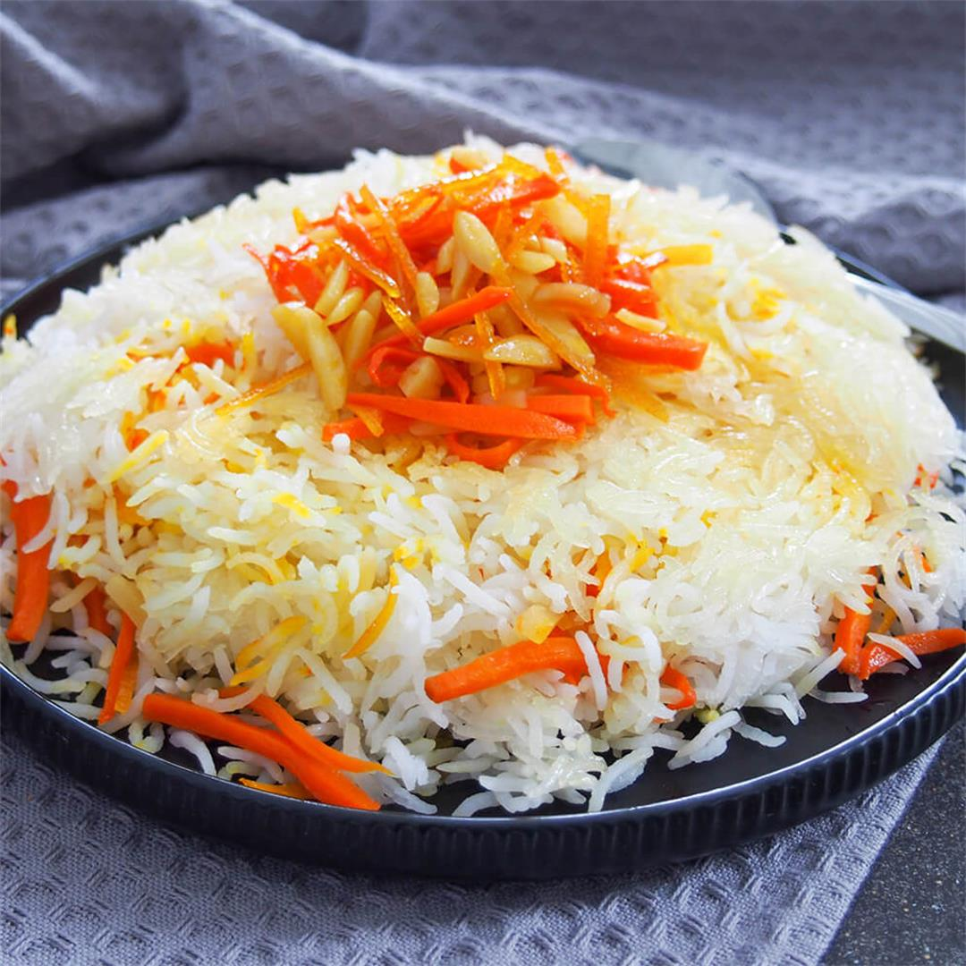 Persian sweet rice (shirin polow)