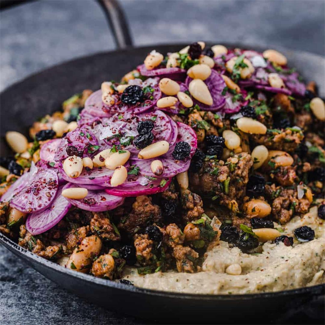 Hummus with Spiced Ground Lamb