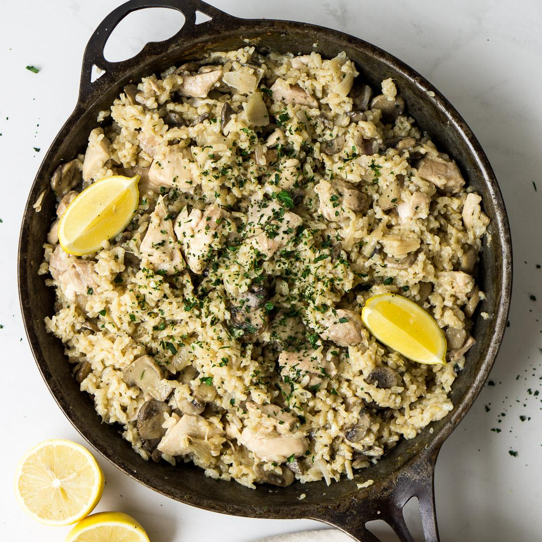 Oven Baked Chicken and Mushroom Risotto