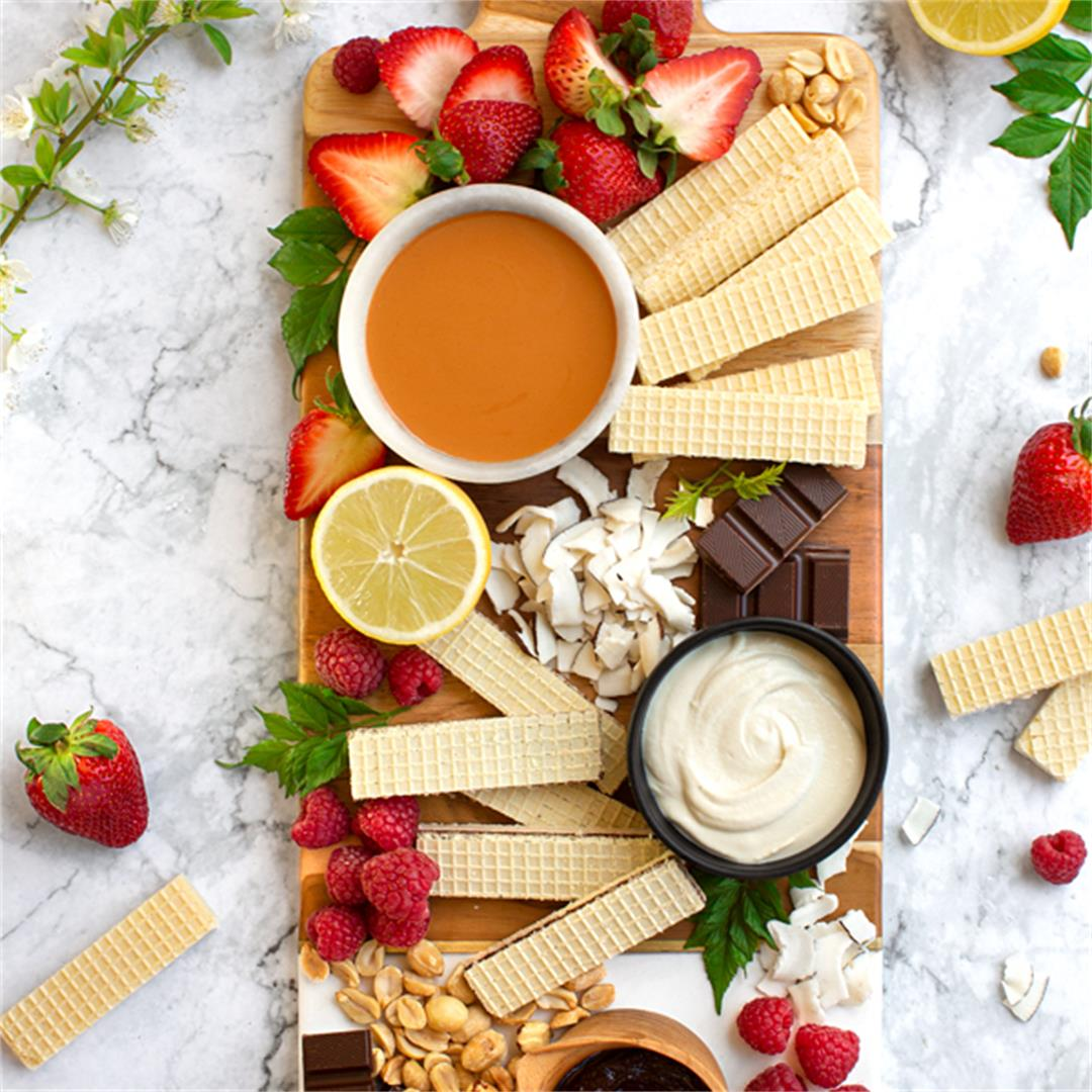 Dessert Charcuterie Board with Three Easy Dips