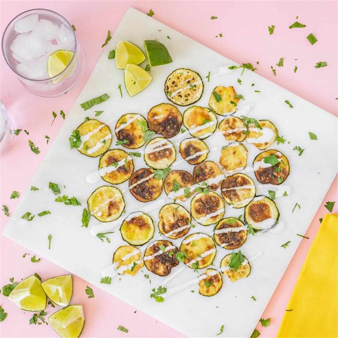 Zucchini Chips with Zesty Coconut Cream