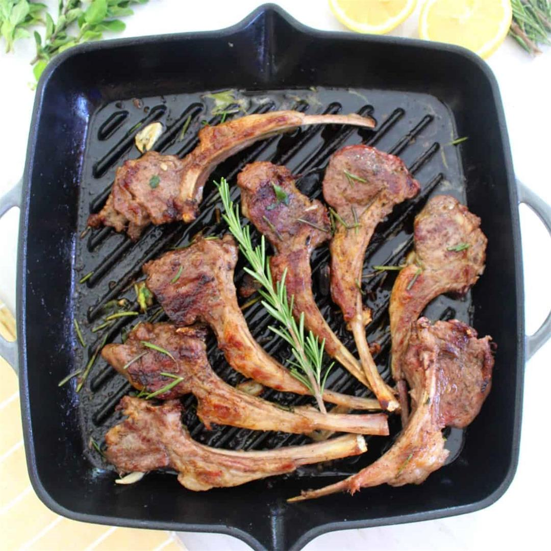 Cast Iron Grilled Lamb Chops