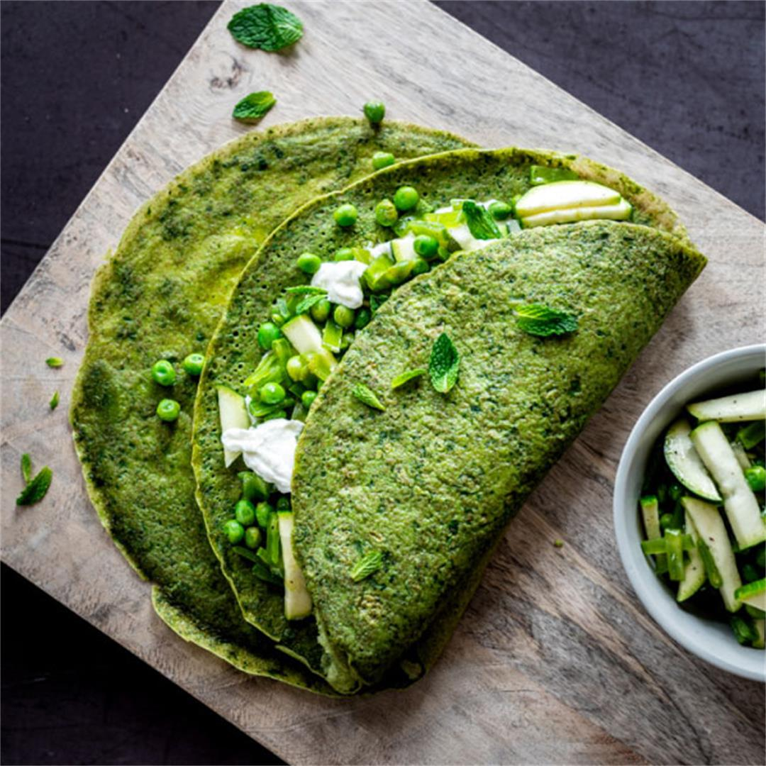 Sweet Pea Spinach Crepes with Whipped Goat Cheese