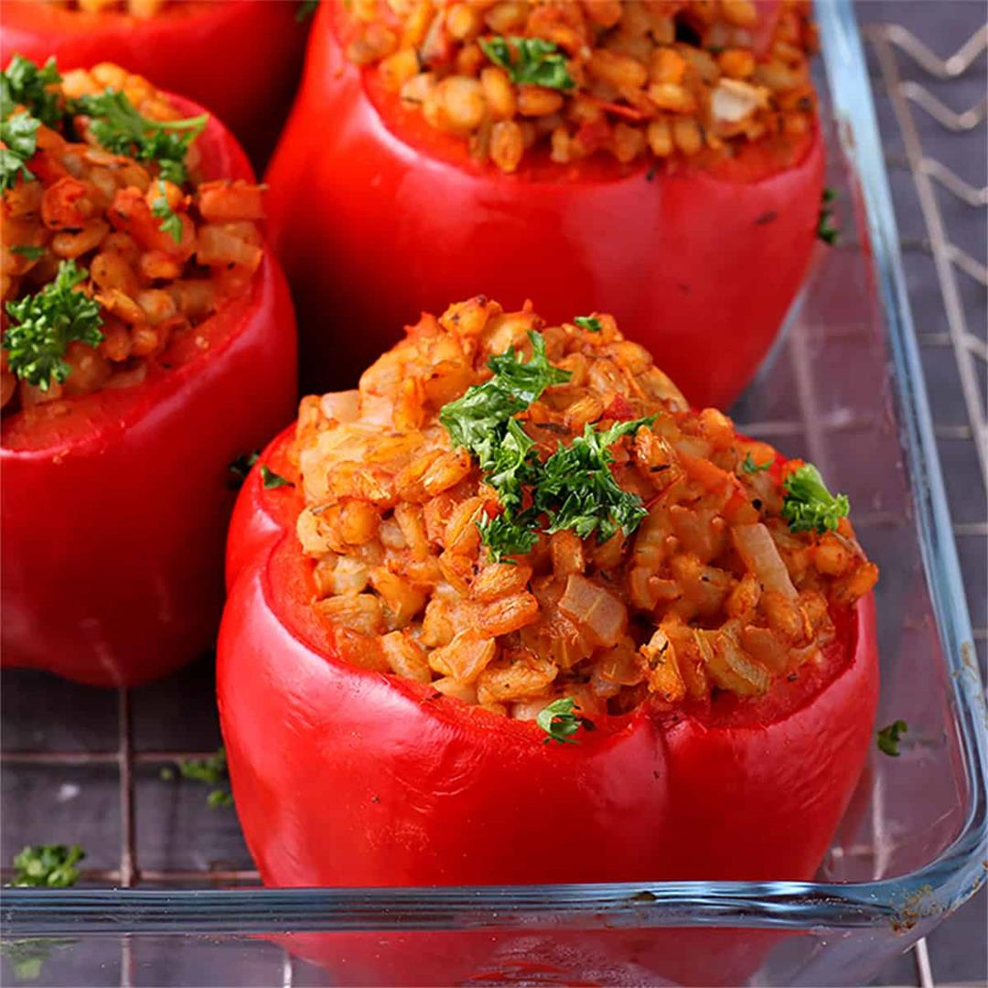 Easy to please vegan stuffed bell peppers