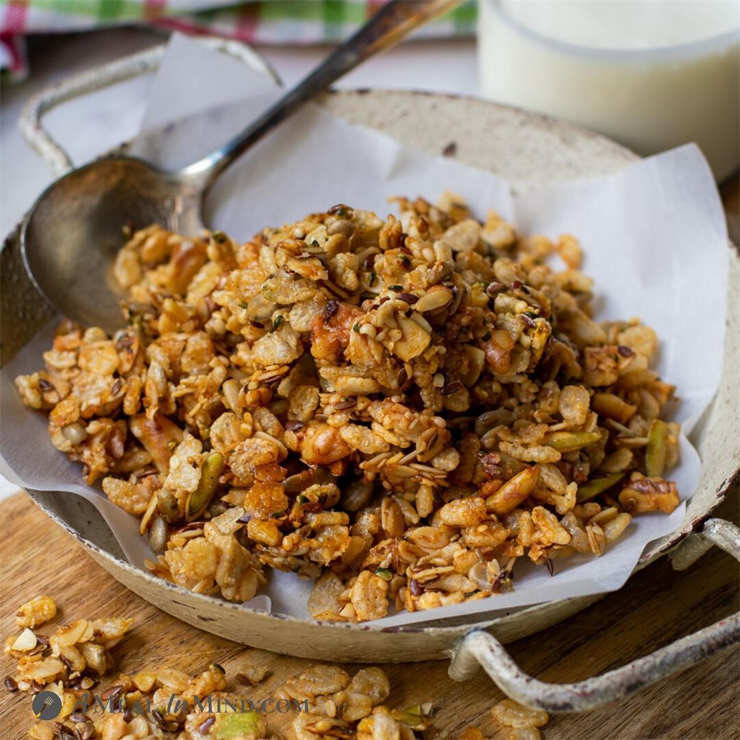 Flax-Hemp Granola with Rice Crisps
