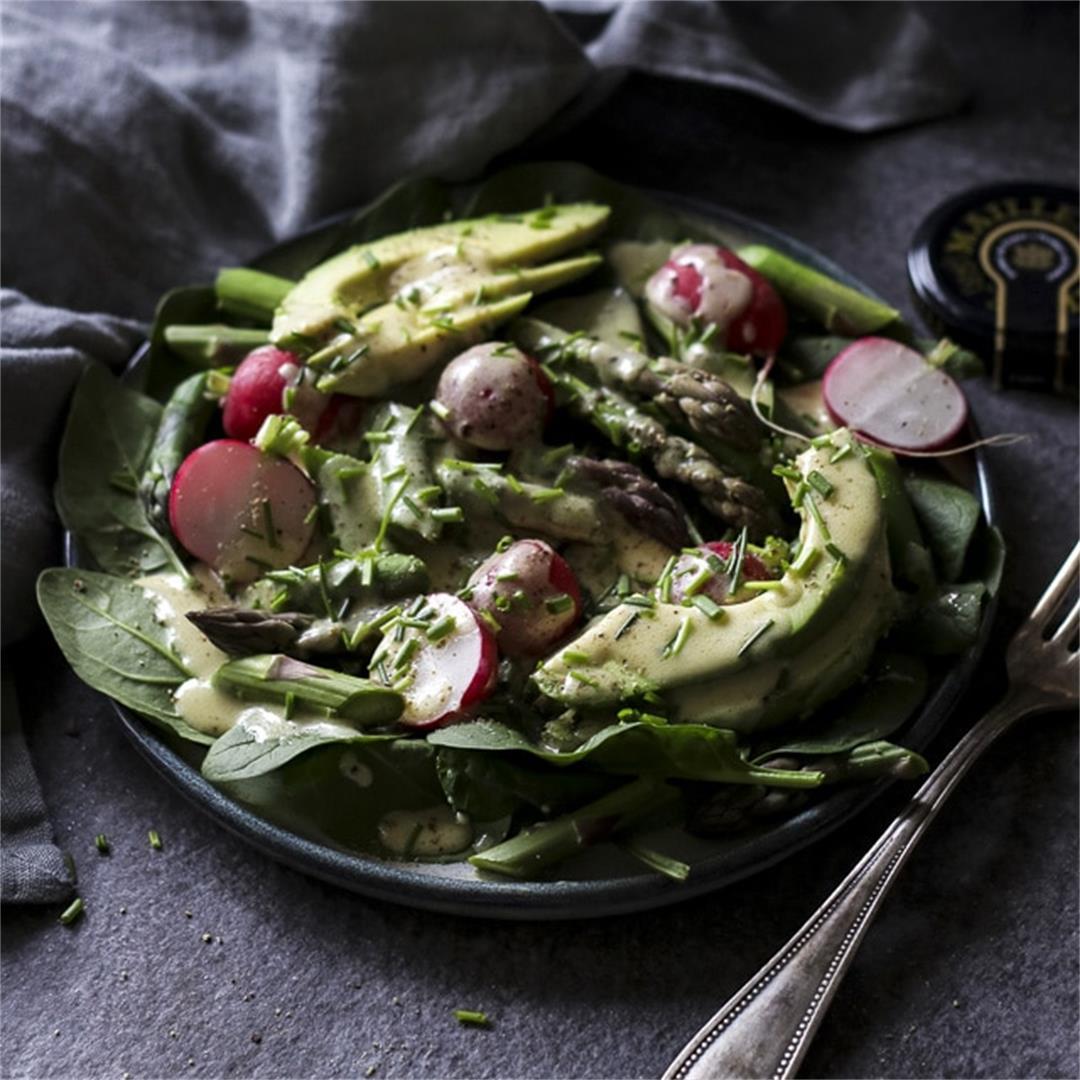 Asparagus Radish Salad with Honey-Mustard Dressing