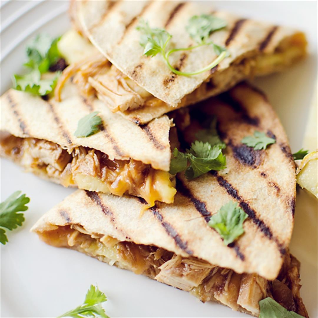 Crock Pot BBQ Chicken & Pineapple Quesadillas