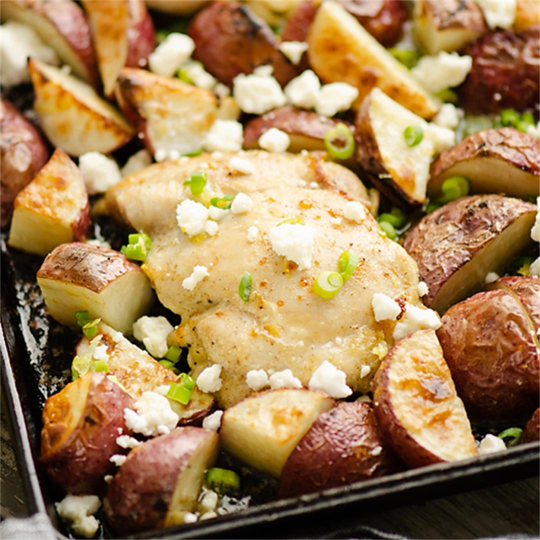 Lemon Feta Sheet Pan Chicken Thighs & Potatoes